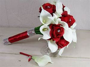 Red Rose and White Calla Lily Wedding Bouquet Set ...