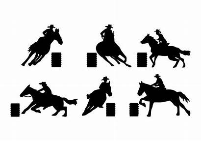 Barrel Racing Vector Silhouette Horse Western Wild