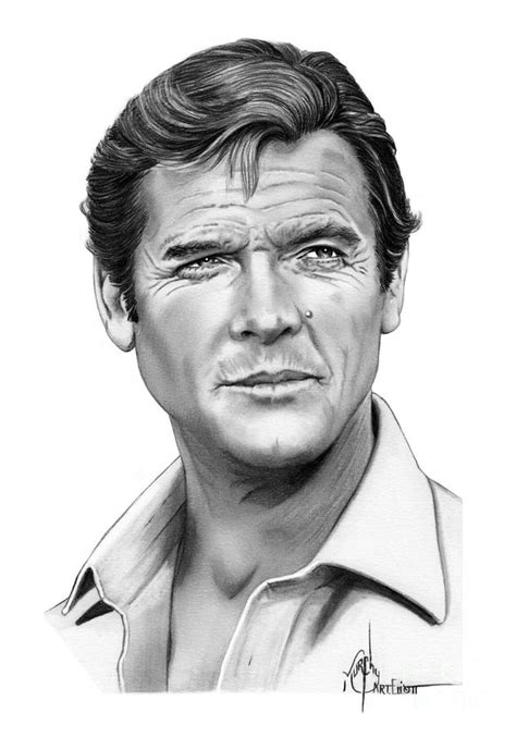 roger moore griffiths and armour sir roger moore drawing by murphy elliott