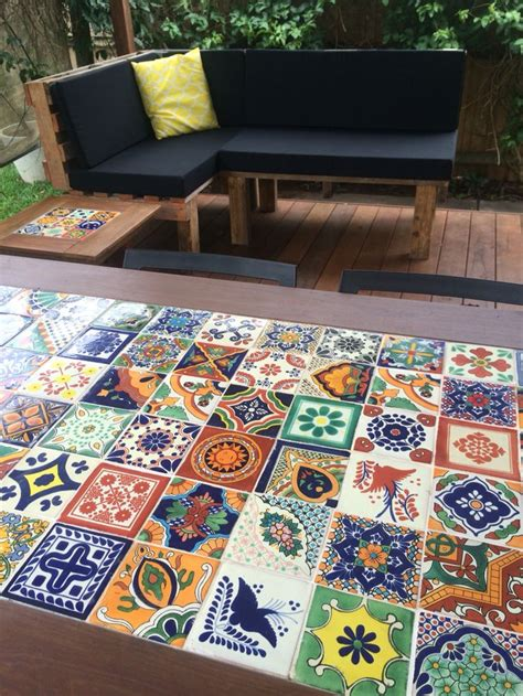diy mexican tile timber table  pallet day bed giving