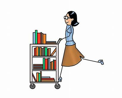 Library Librarian Clipart Cart Clip Trolley Transparent