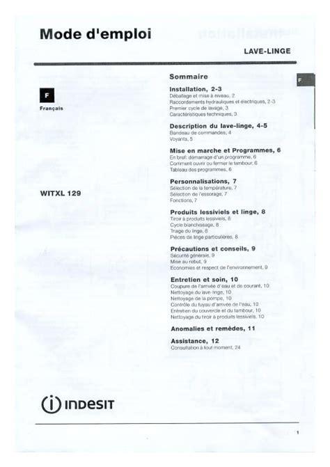mode d emploi lave linge indesit 28 images mode d emploi lave linge proline pwm 1250 fl