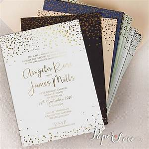 amazing beautiful gold foil confetti elegant wedding With gold and white wedding invitations uk