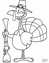 Turkey Coloring Pilgrim Colouring Hunter Hat Happy Thanksgiving Hunting Musket Outline Printable Cartoon Bird Pitara Outlined Drawing Clipart Jogging Pilgrims sketch template