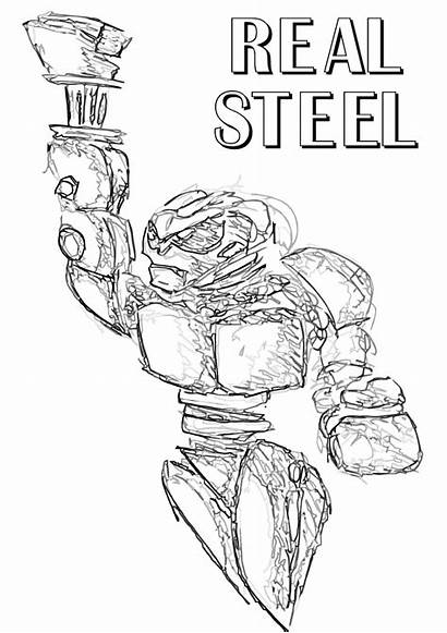 Coloring Steel Pages Realsteel