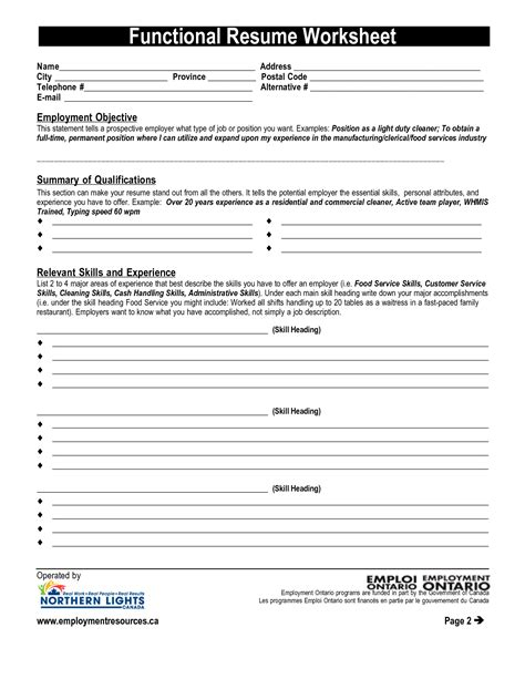 Functional Skills Resume Worksheet by 17 Best Images Of Creating A Resume Worksheet Fill In Printable Resume Worksheet Printable
