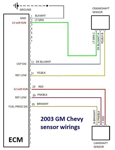 Ecm Wiring Diagram For 2008 Chevy Colorado by Tracing 2003 Chevrolet Silverado Sensor Connection