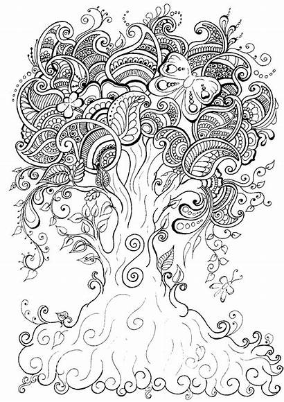 Coloring Pages Adult Tree Mindfulness Colouring Natural