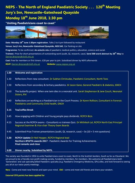 NEPS - The North of England Paediatric Society. 120th ...