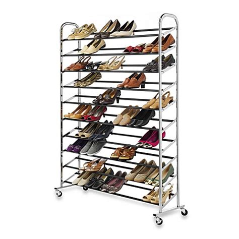 60 pair shoe cabinet 60 pair rolling shoe rack in chrome bed bath beyond