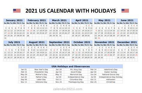 calendar  holidays united states printable