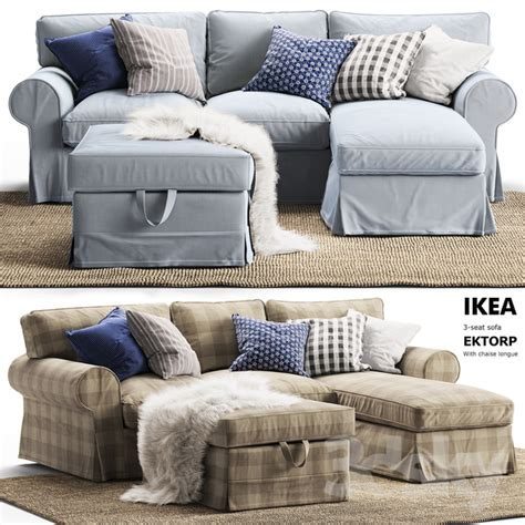 Ikea Ektorp Sofa With Chaise by 3d Models Sofa 3 Seat Sofa Ektorp With Chaise Longue