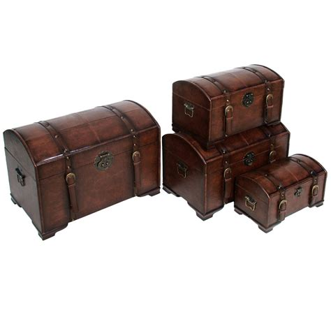 faux leather trunk 4 faux leather trunk set in storage trunks 3722