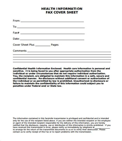 medical fax cover sheet examples templates