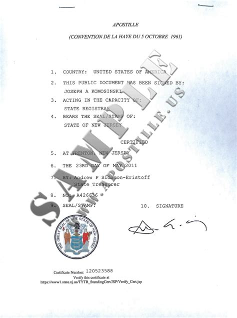 authentications  documents state  jersey