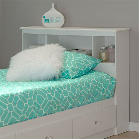 South Shore Crystal Twin Bookcase Headboard Pure White