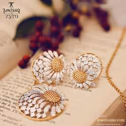 beautiful ear rings tanishq zyra affair with flowers jewelsome