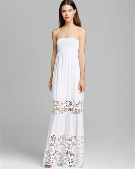 white dresses lyst guess embroidered lace maxi dress in white