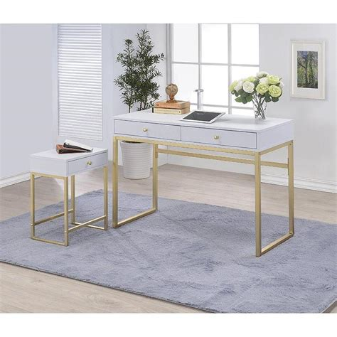 white desk with gold legs coleen white gold accent writing desk
