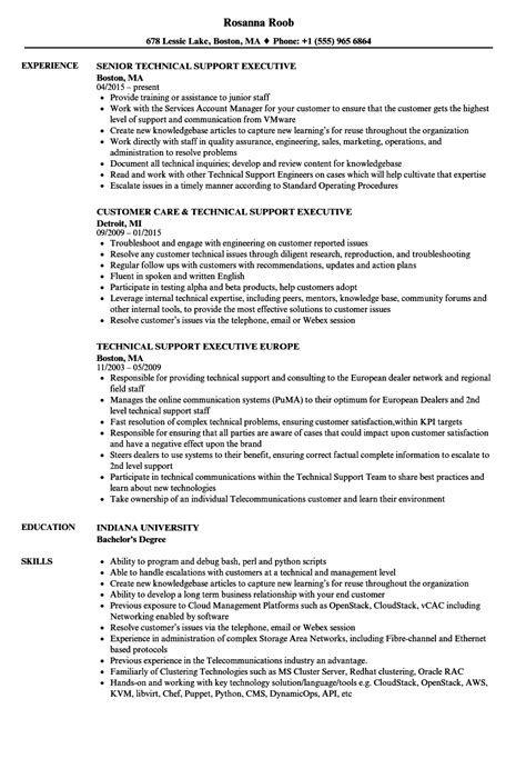 Technical Support Skills Resume by Technical Support Executive Resume Sles Velvet