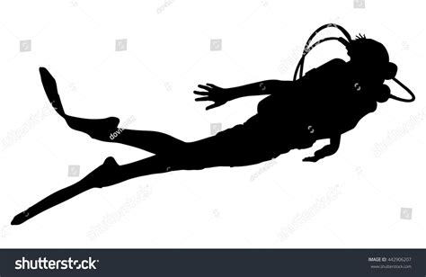 scuba diving silhouette vector illustration isolated stock