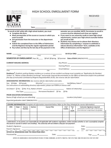 student enrollment form   templates   word