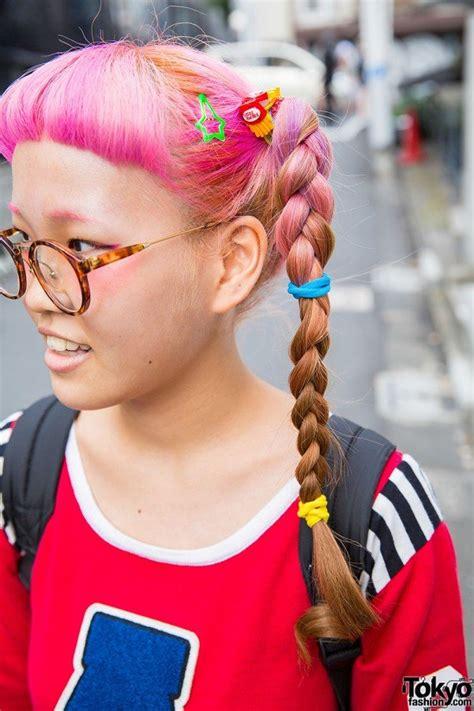 pink braids glasses  aymmy top plaid skirt spinns