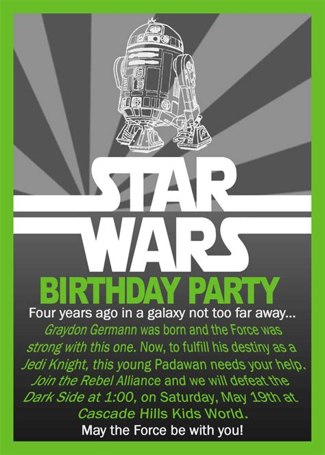 star wars birthday invitation unsorted themed parties