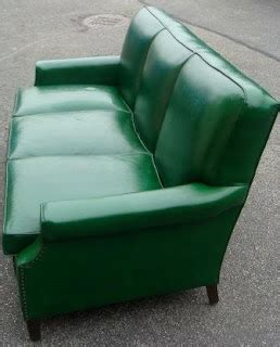 nicole wood interiors sold vintage green vinyl sofa