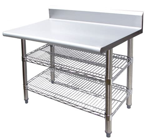 stainless steel work table with two shelves evoo b5evts3030 30 quot stainless steel 5 quot back splash work