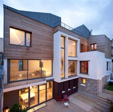 lustre moderne cuisine maison de ville contemporain façade par atelier dreyssé