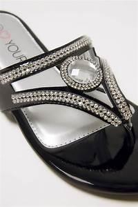 I Watch Kaufen : schwarze strass verzierte flache sandalen in eee weite passform ~ Eleganceandgraceweddings.com Haus und Dekorationen