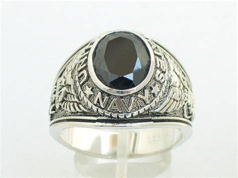 xmm  sterling silver black stone  military navy