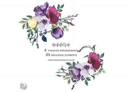 Plum Floral Clipart Watercolor Cart