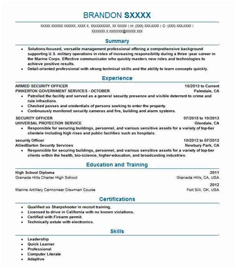Officer Resume by Armed Security Officer Resume Sle Officer Resumes