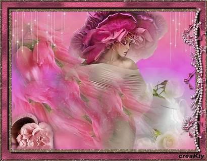 Femme Belle Fleur Rose Bon Femmes Visage