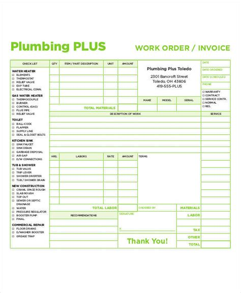 plumbing invoices examples  word
