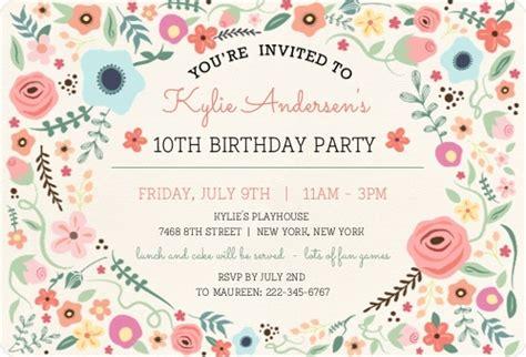 girly floral frame birthdday invitation kids birthday