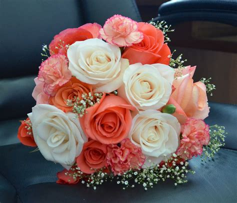Rose Bridal Bouquet In Coral Pinks And Ivory By