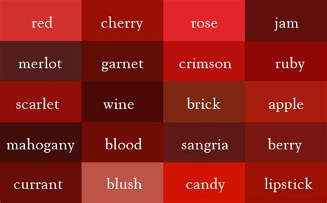 wine  dark red    correct names   color shades