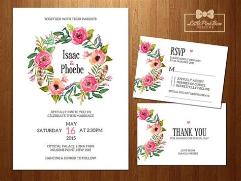 Floral Wedding Invitation Rsvp Thank You Card Printable Set