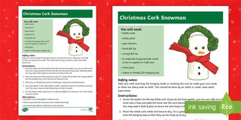 * New * Ks2 Make A Christmas Cork Snowman Craft Instructions