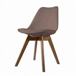 Coussin Pour Chaise Scandinave : lot de 2 chaises scandinaves scandy taupe avec coussin ~ Dailycaller-alerts.com Idées de Décoration