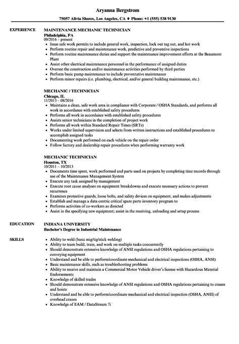 Technician Resume by Mechanic Technician Resume Sles Velvet