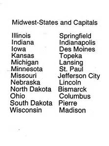 Midwest States and Capitals List