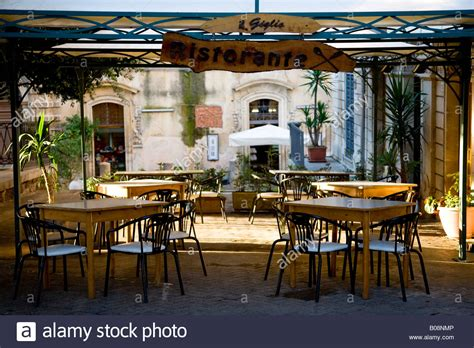 Restaurant Patio by Restaurant Patio In Noto Sicily Italy Stock Photo