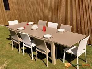 Salon De Jardin Taupe : table de salon de jardin factory avec extension sur ~ Teatrodelosmanantiales.com Idées de Décoration