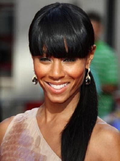 bangs  ponytail black hairstyle hairstyle  women