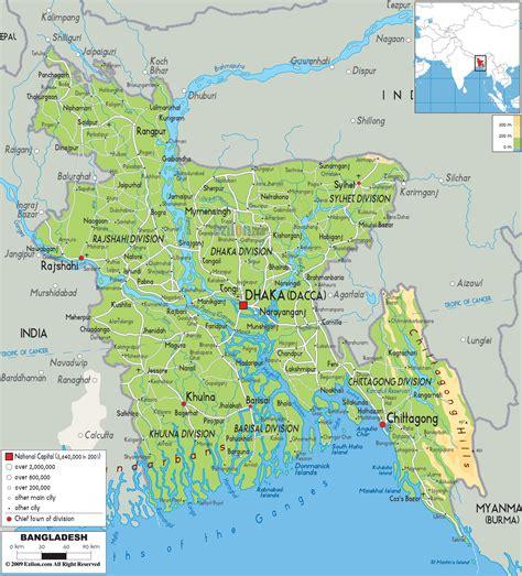 physical map  bangladesh ezilon maps