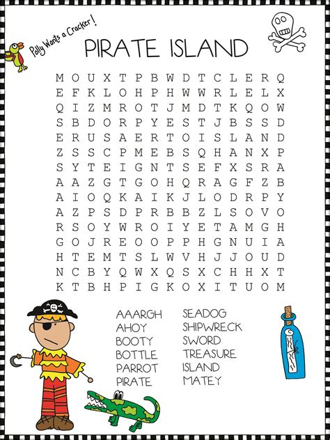pirate crossword puzzles easy  hard activity shelter